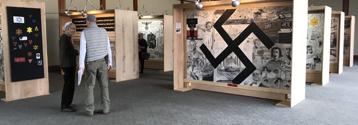 unique holocaust mural exhibit at temple adath bnai isreal evansville indiana